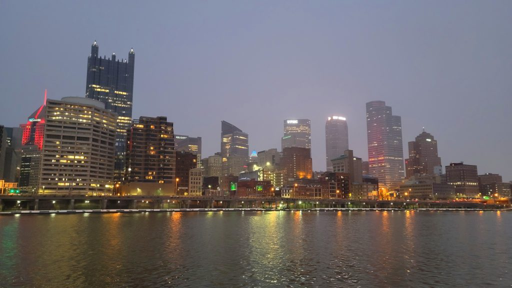 gateway clipper wedding pittsburgh skyline at night